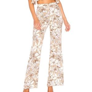 For Love & Lemons Floral High Waisted Flare Pants